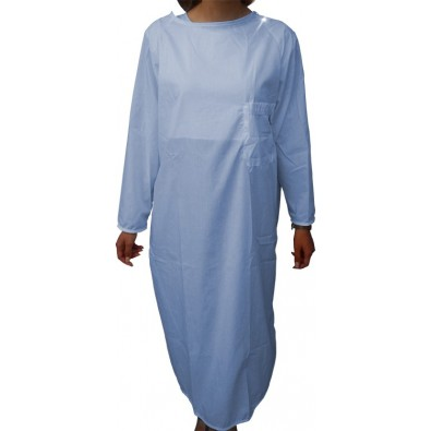 HOSPITAL LONG-SLEEVE NIGHTDRESS S/S SKY BLUE
